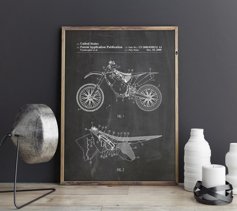KTM Motorcycle patent,Motorcycle artwork ,Dirt Bike wall art , posters, room decor, print,blueprint, gift idea,wall Decorations