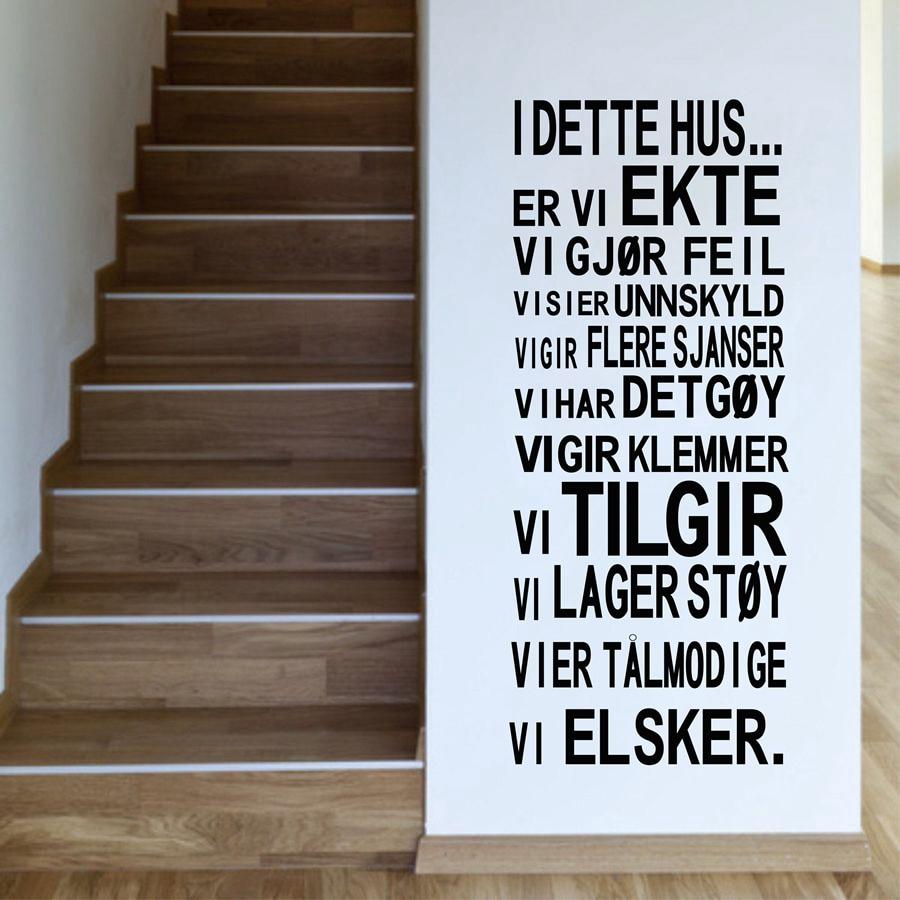 Норвежская версия I DETTE HUS. .. Виниловые Настенные стикеры Семейные правила для дома настенные художественные наклейки для украшения дома гос...