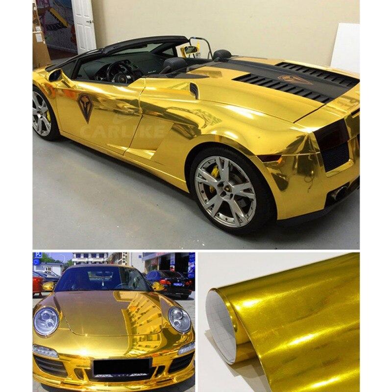 2019 impermeable UV protegido oro envoltura de vinilo cromado de espejo hoja rollo de película pegatina de coche hoja