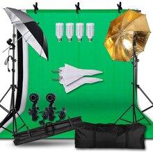 Fotografia Sfondo Continuo Ombrello da Studio Kit di Illuminazione, Non tessuto Schermo Verde e Lo Sfondo Del Basamento di Sostegno per la Foto