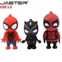 JASTER Marvel Comics 블랙 팬더 스파이더 맨 데드 풀 USB 3.0 펜 드라이브 미니언 메모리 스틱 플래시 드라이브 4G 16G 32GB 64GB 선물