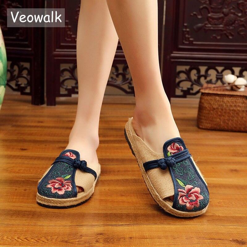 Flor Veowalk bordada hecha a mano mujeres de lino de algodón plana alpargatas zapatillas de verano Retro señoras Casual Comfort Mules zapatos