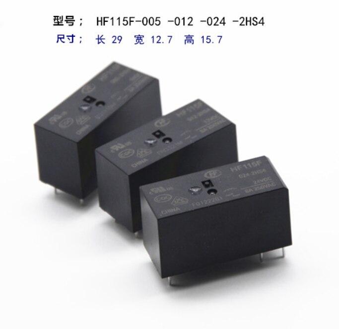10 Stücke Leistungsrelais HF115F-005-2HS4 JQX-115F-005-2HS4 HF115F-012-2HS4 JQX-115F-012-2HS4 HF115F-024-2HS4 JQX-115F-024-2HS4 8A 6 Pins