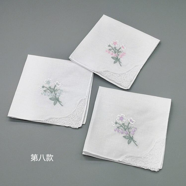 3pcs Embroidery Flower White Handkerchiefs Ladies Lace Handkerchief Women Cotton Towels chustki zakdoek fazzoletto mouchoir H09