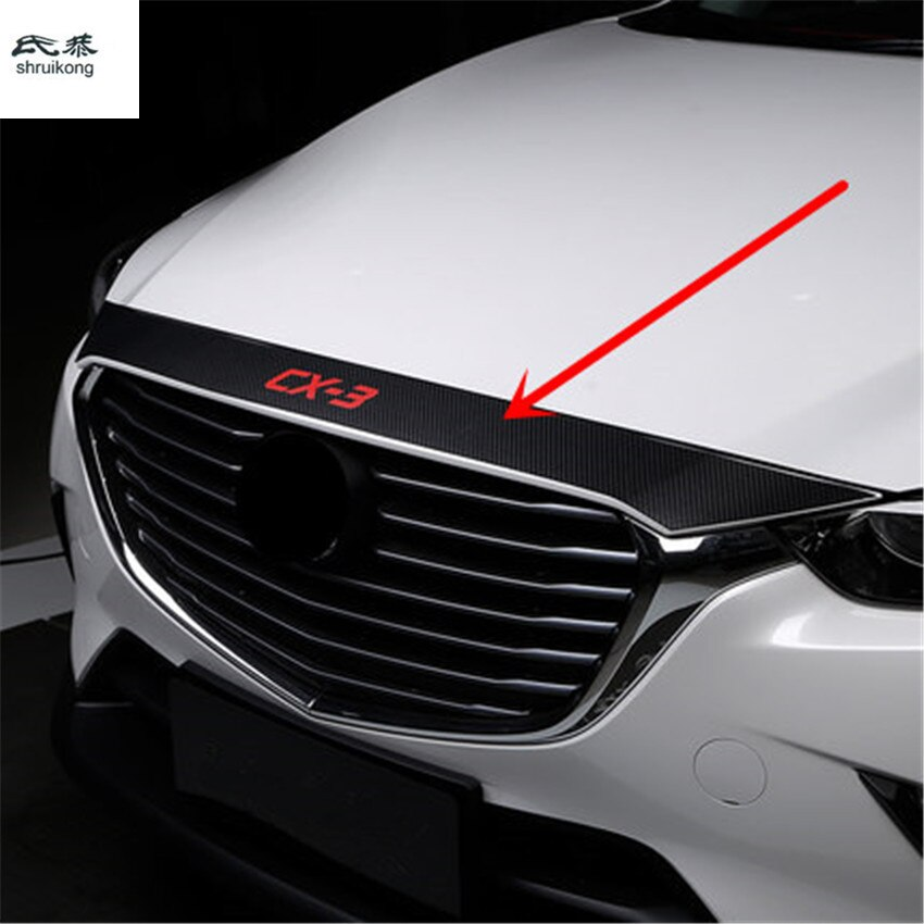 1pc carbon fiber PU leather for 2015-2019 Mazda CX-3 CX3 CX 3 DK car stickers car accessories Automobile car front HOOD cover