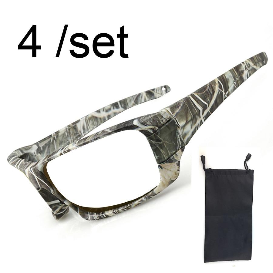 4 lotes de gafas de pesca con montura de camuflaje negro 2 colores para GLA035