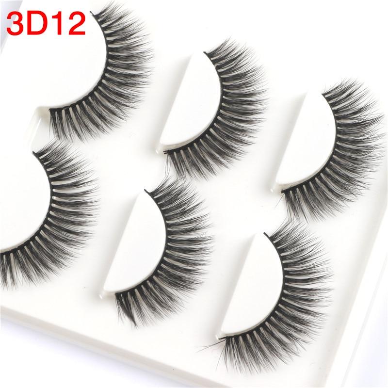 3 Pairs 3D Mink Lashes False Eyelashes Natural Long Hand Made Makeup Fake 3D12