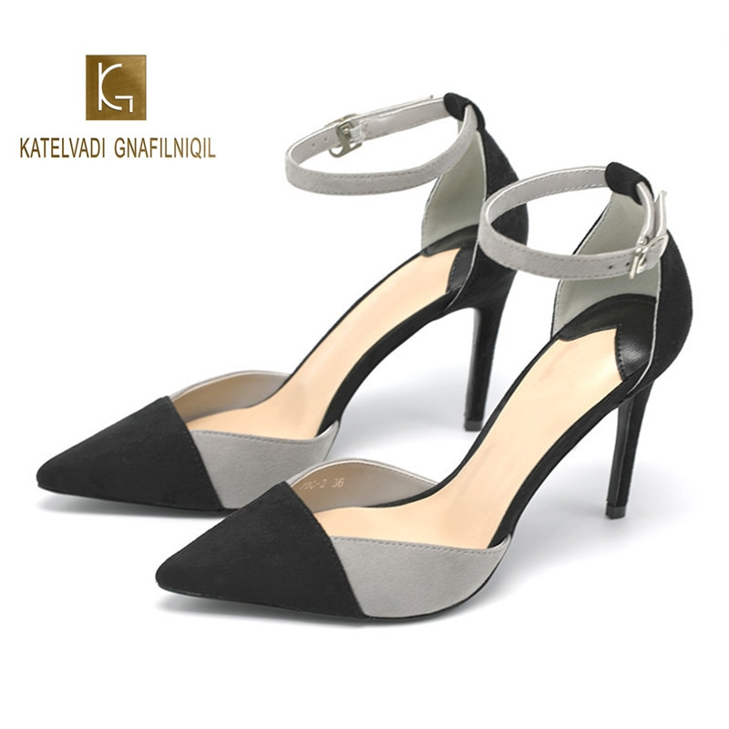 Sandalias de tacón alto sexis de 9CM, tacones altos de color gris con puntera negra, sandalias con borra al tobillo para fiesta, talla 34-40 K-282