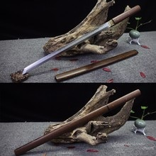 Handmade Japanese Sword Wakizashi Straight T10 Steel Clay-Tempered Blade Rose Wood Shirasaya Sharpness Ready for Battle