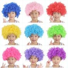 Discor-perruque bouclée pour fête de noël   Perruque de Clown Afro arc-en-ciel, accessoires pour fête Halloween, Football et enfant adulte