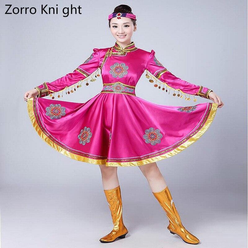 Dance costume Ladies New Dance Costumes Female Short Paragraph Rose Red Mongolia Skirt Performance Clothing Chopsticks Dance