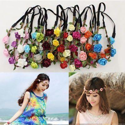 Rosa flor cabeza cadena joyería hueco elástico pelo banda diadema boda moda señoras flor diadema Accesorios