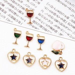 New 50PCs Wine Cup Charm Pendant Gold Color Plated Alloy Enamel Fruit Peach Stars Heart Pendants Charm Craft Fit Necklace