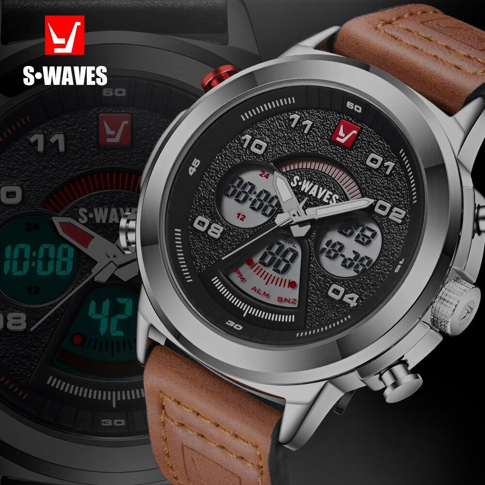 ساعة يد كوارتز رقمية للرجال ، سوار جلدي ، شاشة مزدوجة ، غير رسمية ، مقاومة للماء ، منبه