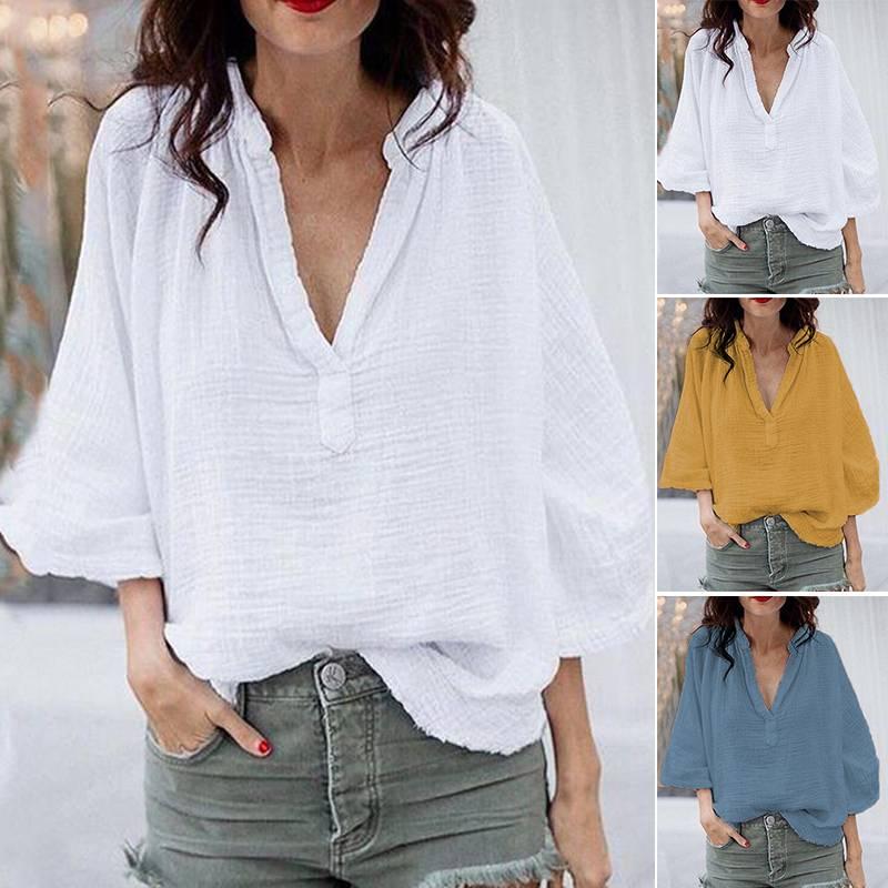 ZANZEA женские блузки размера плюс, рубашки, женские повседневные, смятые, туника, топы, рабочие белые рубашки, хлопковые, свободные, Харадзюку