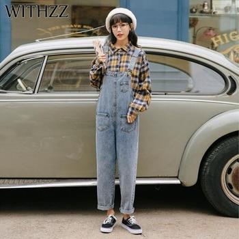 WITHZZ Spring Autumn High Waist Strap Pants Pocket Denim Jumpsuit Women Romper Jeans Jumpsuit Female Streetwear