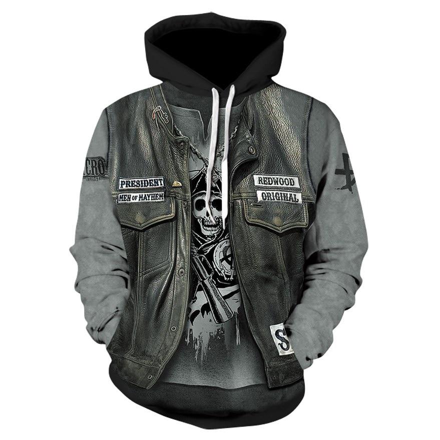 Neue Gothic Schädel Hoodie männer Hip Hop Sweatshirt Männer frauen Dünne 3D Sweatshirt Druck Gefälschte Denim Jacke Schädel hoodie Pullover