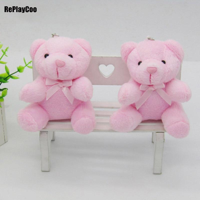 40 unids/lote Kawaii pequeño oso de peluche de felpa relleno con cadena sentado altura 10CM osito Mini oso Ted juguetes de peluche para regalo 0142