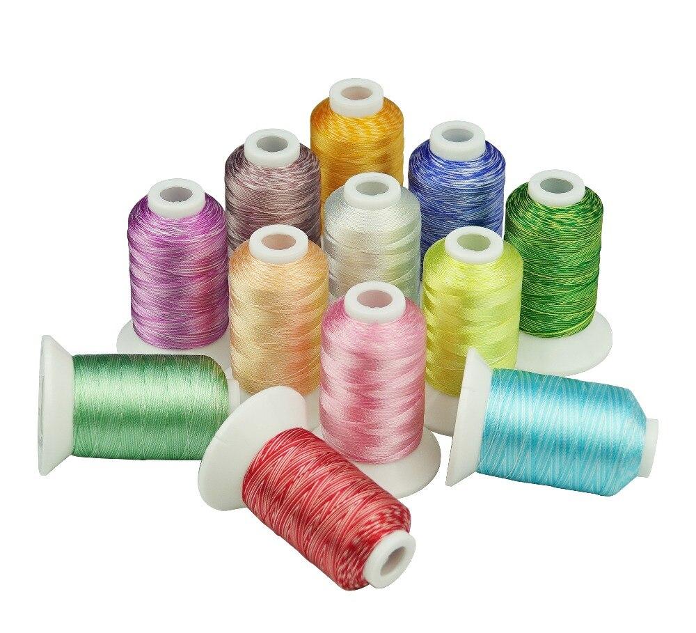 Neue Angekommene Rayon stickgarn mit beliebte 12 farben ideal für jedes heim maschine + Freies verschiffen!