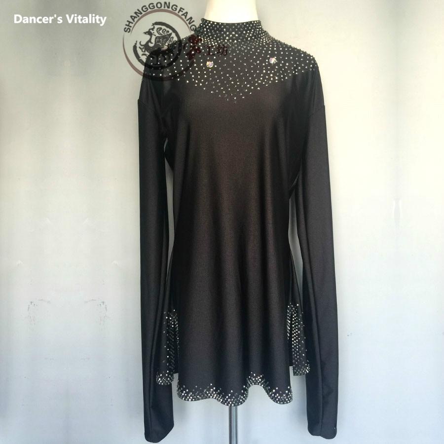 Vestido de salón para hombre, vestido especial para niños, baile latino Tango Rumba Cha-Cha, vestido profesional de baile Samba con diamantes de manga larga, 120-180cm