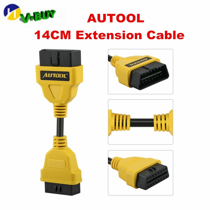 100 stücke AUTOOL OBD2 Verlängerung Kabel 14cm 30cm 40cm 100cm 150cm für Launch IDIAG/ easydiag/Pro/Pro3/V/V +/GOLO/Mdiag/ELM327/AL519