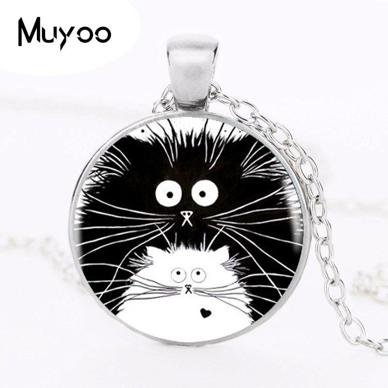 2017 colgante negro y blanco para gatos, collar redondo negro para mujeres, accesorios, colgantes de cúpula de vidrio para joyería Animal bonito HZ1