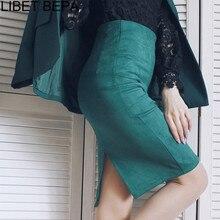 Femmes Midi jupes daim solide 7 couleurs jupe crayon femme automne hiver taille haute moulante Vintage daim fendu extensible SP012
