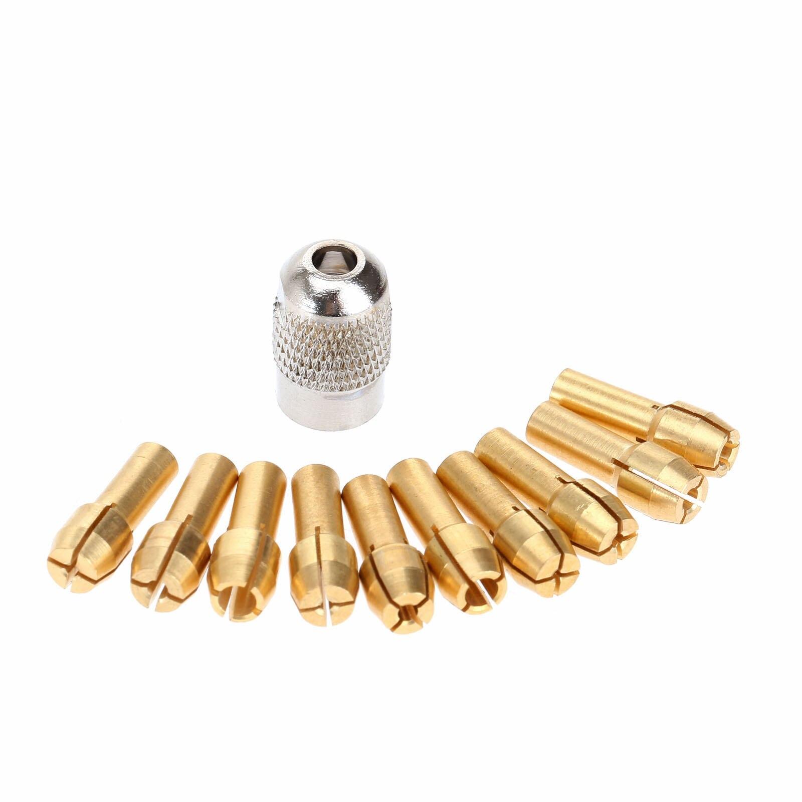Dophee 0,5mm-3,2mm latón Dremel Collet Mini portabrocas 4,3mm caña para Dremel herramienta rotativa + 1Pc 8x0,75 Mill del eje tornillo tapa de tuerca