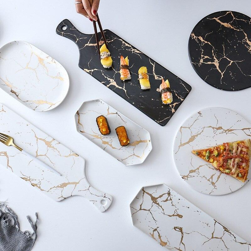 Lekoch banda de mármol creativa gran rectángulo y plato redondo de cerámica para Pizza utensilios de cocina porcelana Sushi vajilla al por mayor