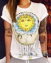 2018 Short Sleeved Women Tshirt Sun pattern Summer Top Plus Size Casual Tee Harajuku Vintage T shirt Women