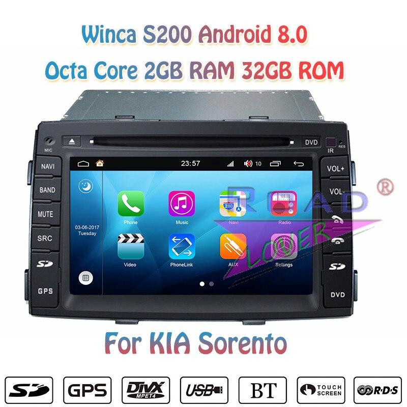 Winca S200 Android 8.0 Auto DVD Player Radio Für KIA Sorento 2010 2011 2012 Stereo GPS Navigation Magnitol 2 Din Video HD Monitor