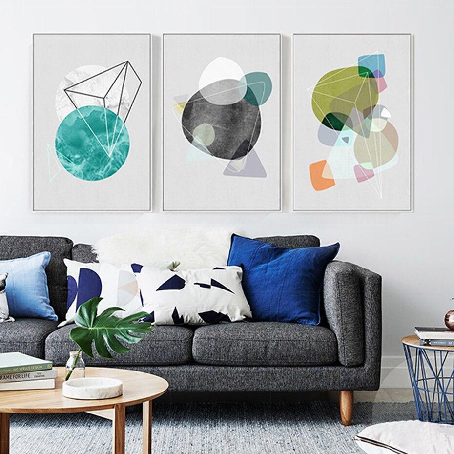 Cartel minimalista de estilo nórdico con pinturas en lienzo geométrico abstracto e impresión de imágenes artísticas de pared Pop para sala de estar hogar Oficina Decoración
