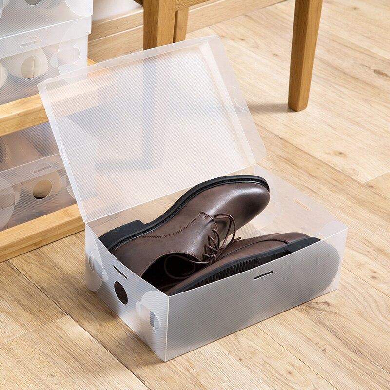 10 Uds. Cajas de almacenamiento de Calzado de plástico plegables, organizador apilable, soporte para zapatos baske, organizador de caja de zapatos en 4 colores