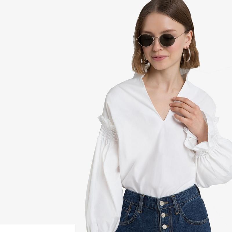 Retro V-neck Bishop Sleeve Flouncing Shirt Stand Collar Ruffles Elastic Cuff Cotton Blouse White TA02800114