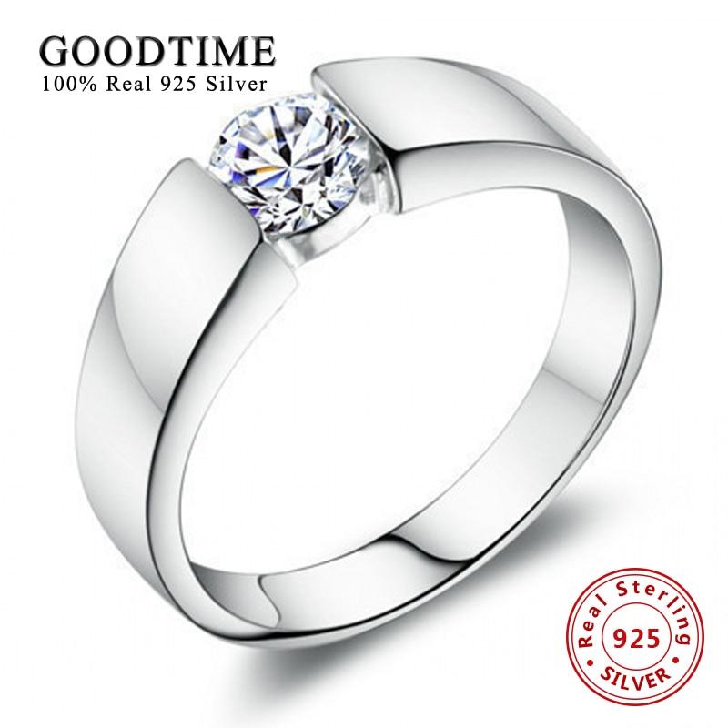 Anillos a la moda joyería de plata esterlina para hombres conjunto de anillo 100% de plata esterlina 925 anillo de compromiso SONA Zirconia GTR016 de 1 quilate