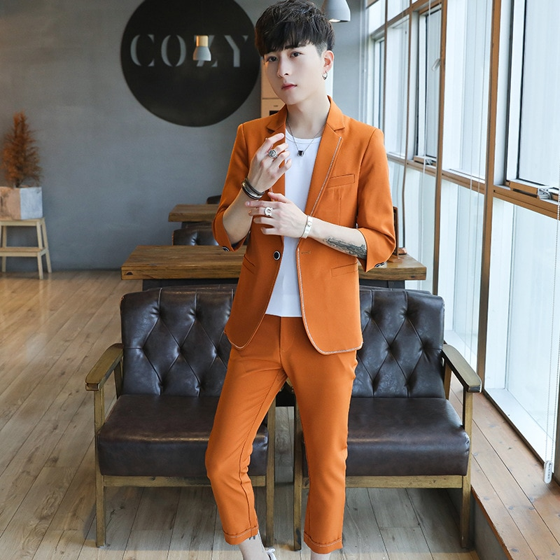 Summer Seven Points Sleeve Seven Pants Suit Male Wedding Banquet Etiquette Men's Suits Two Piece Coats Pants New Product pants pants summer seven sleeved suit suit male korean version of the slim fashion hair stylist trend leisure suit two piece