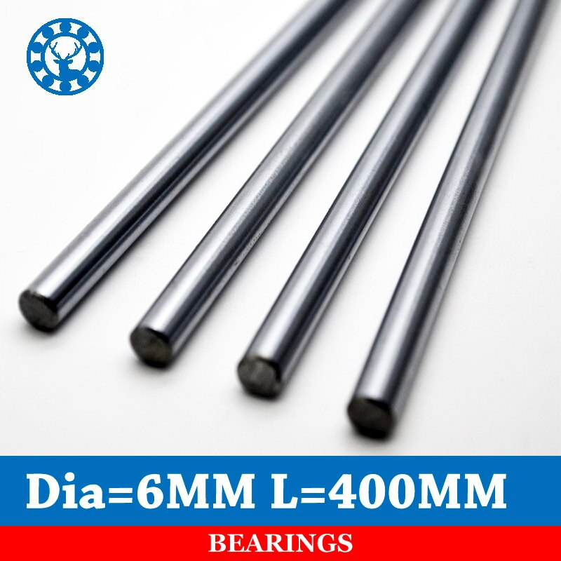 2 piezas 6mm eje lineal cromo 6mm OD L 400mm WCS barra de acero redonda carril lineal cilindro para piezas CNC XYZ
