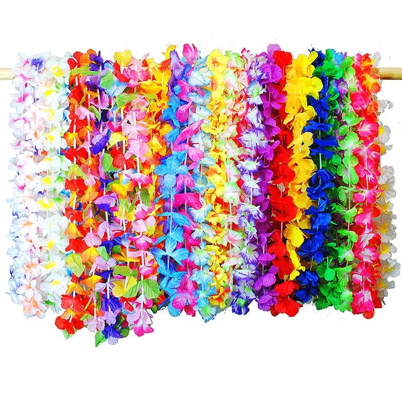 36 unids/set guirnalda de flores hawaianas tropicales fiesta collar de guirnaldas Leis suministros decoración TI99