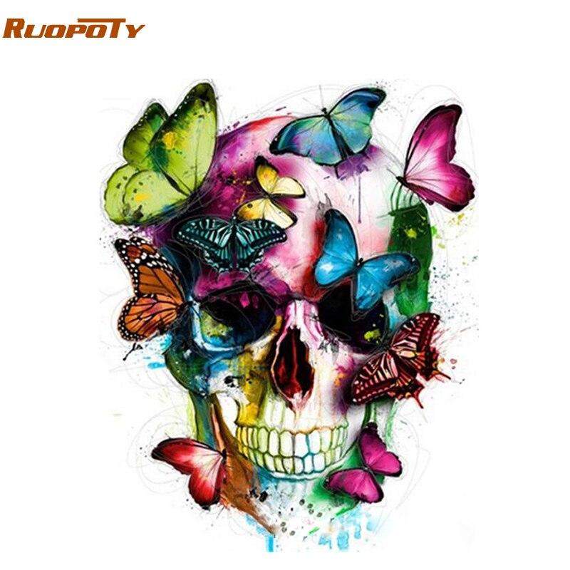 Cuadro ruopoty con diseño de mariposa abstracta DIY con números, pintura acrílica sobre lienzo, pintura moderna Arte de la pared Decoración por números para el hogar