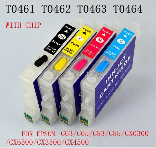 Cartucho de tinta Recarregáveis para EPSON STYLUS C63 T0461-T0474/C65/C83/C85/CX6300/CX6500 /CX3500/CX4500 Impressoras chip de reset Automático