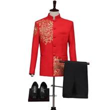 Garnitur weselny w stylu chińskim mężczyźni wzory haftu chiński garnitur Tang stójka garnitur chiński strój tunika Top + spodnie