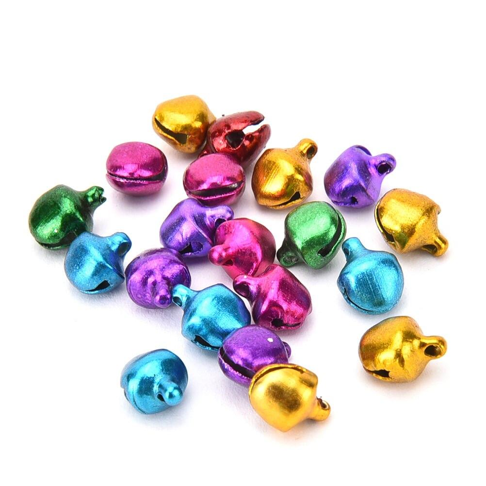 6-12mm Bunte 100 Pcs/lot Eisen Lose Perlen Kleine Jingle Bells Weihnachten Dekoration Anhänger DIY Handwerk handgemachte Accessoires
