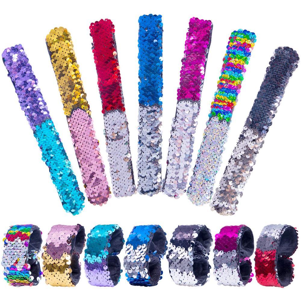 Браслет Magic с блестками, двойной цвет, простой модный детский аксессуар для волос, рождественский подарок