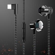 HiFi USB-C écouteurs in-ear dynamique lecteur Type C écouteur basse métal Sport jeu casque avec micro pour Oneplus Xiaomi Huawei P30