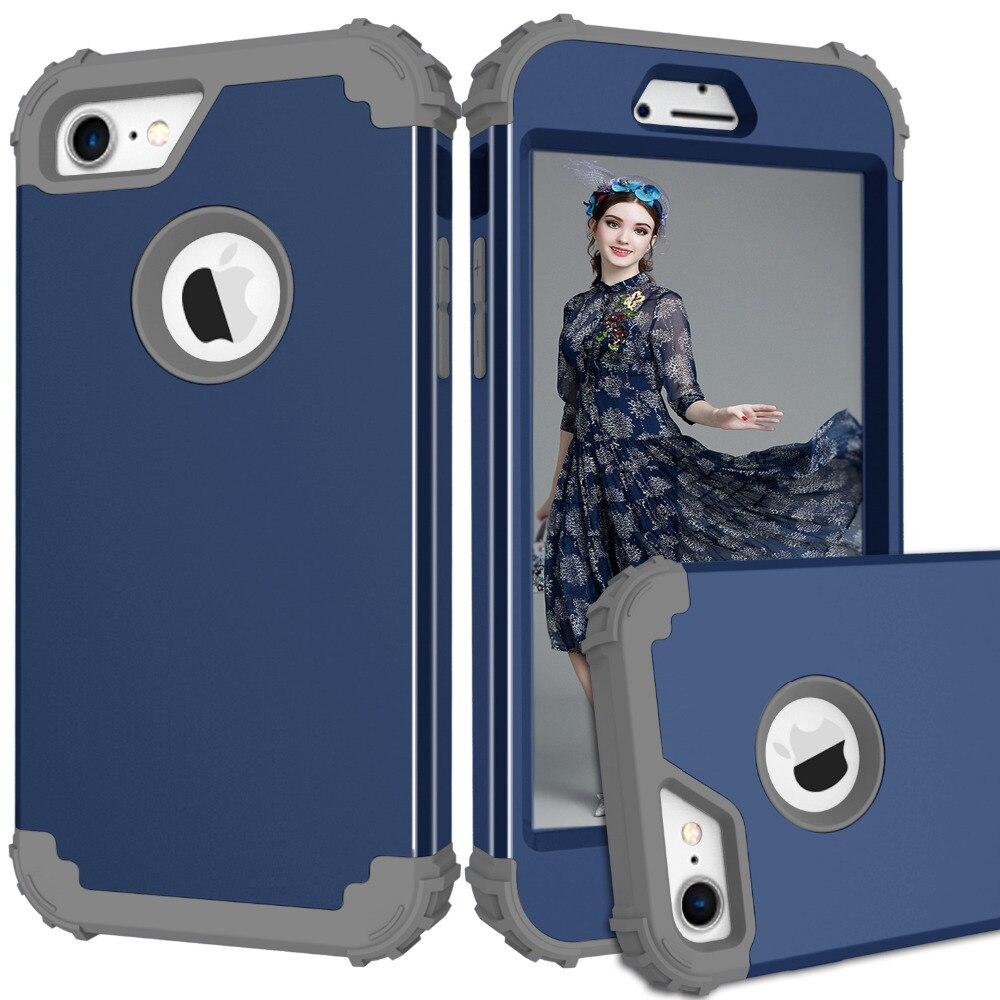 Para iPhone 6 6 S 7 Plus fundas de teléfono a prueba de golpes, funda protectora de cuerpo completo híbrida de 3 capas PC + TPU para iPhone 7 carcasa de teléfono antigolpes