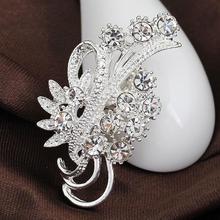 Accesorios de moda de mujer de elegante Diamante de imitación delicado Chapado en plata flor broches para el cuello suéter decoración YBRH-0217