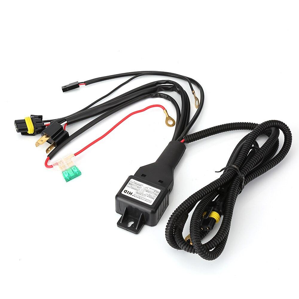Estilo de coche H4/9003 reforzador de faro Cable conector de cableado relé fusible enchufe negro H4 faro conector fusible