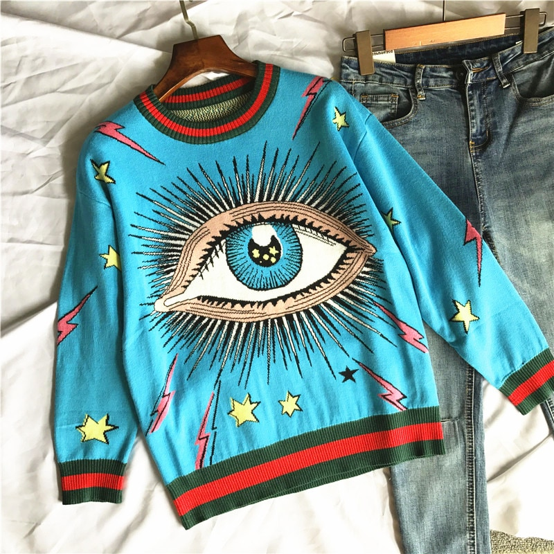 Luxury Brand Sweaters 2018 Women Pullovers Blouse Long Sleeve Top Fashion Design Beautiful Big Eyes Jacquard Blue Knit Sweaters enlarge