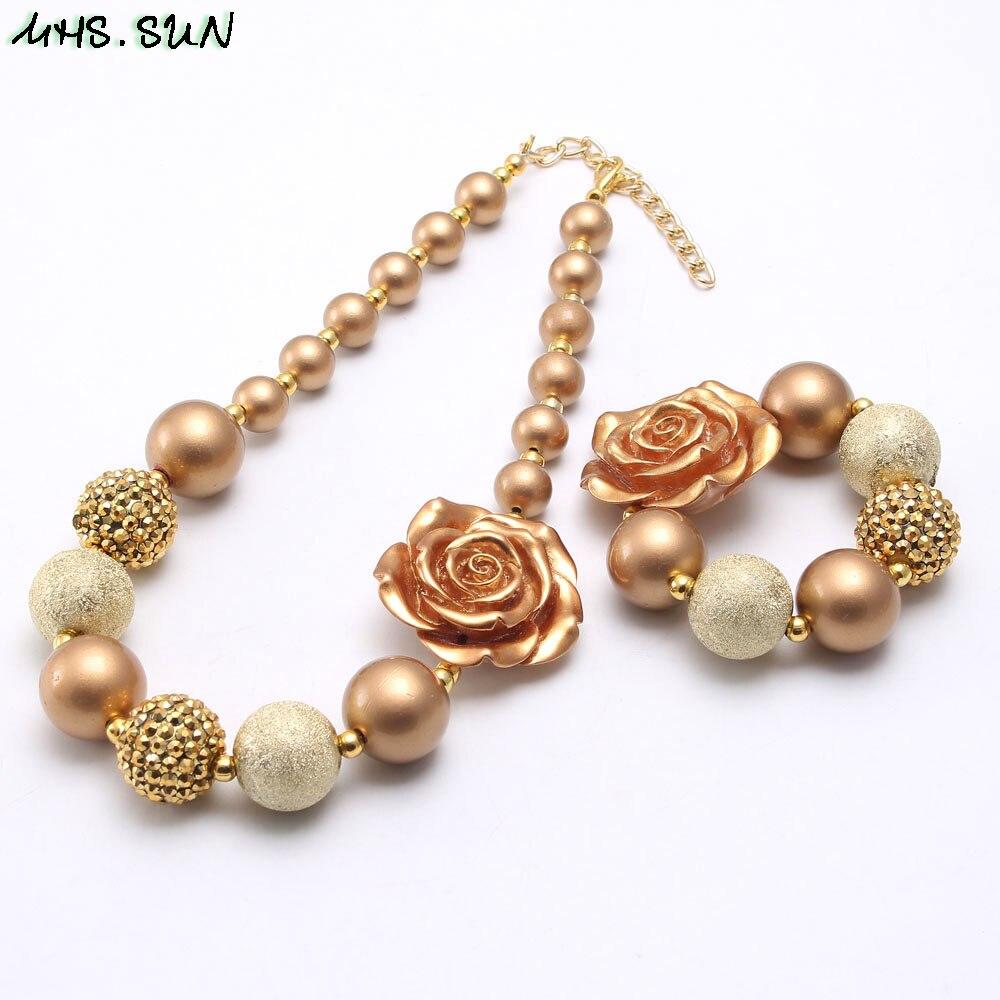MHS. SUN oro rosa flor collar de perlas gruesas para niños niñas moda collar color chicle para fiesta hecho a mano joyas gruesas