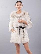Manteau de fourrure de conception de nouveauté de fourrure naturelle des femmes de grande taille de raton laveur naturel, veste dautomne dhiver noir blanc C234